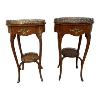 Antique Louis XV Style Two Tier Side Tables - Pair For Sale