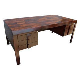 Parquet Brazilian Jacaranda Desk by Jean Gillon For Sale