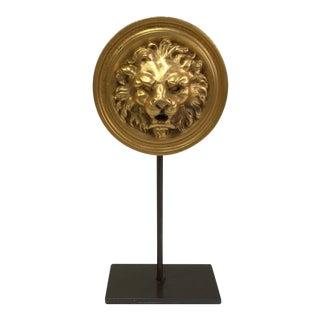 Gilded Brass Round Lion Plaque