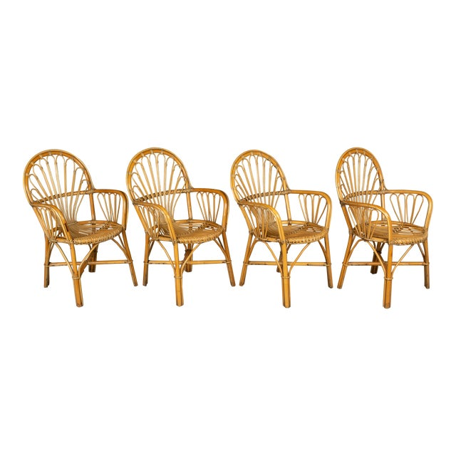 French Bamboo & Rattan Dining Chairs- Set of 4 For Sale