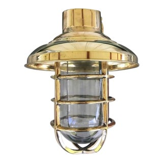 Large Antique Brass Bulkhead Light With Brass Rain Cap For Sale