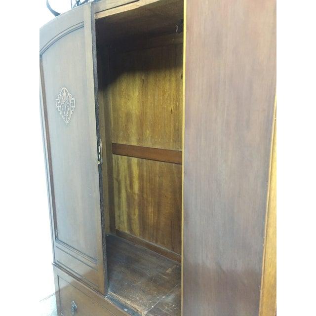 1920s Bath Cabinet Makers 1928 Oak Art Deco Armoire For Sale - Image 5 of 6