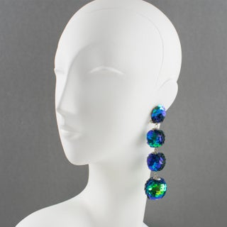 Turquoise Blue Sequin Disco Balls Dangling Chandelier Clip on Earrings Preview