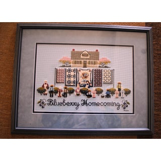 Amish Style Blueberry Homecoming Cross Stitch Textile Art Preview