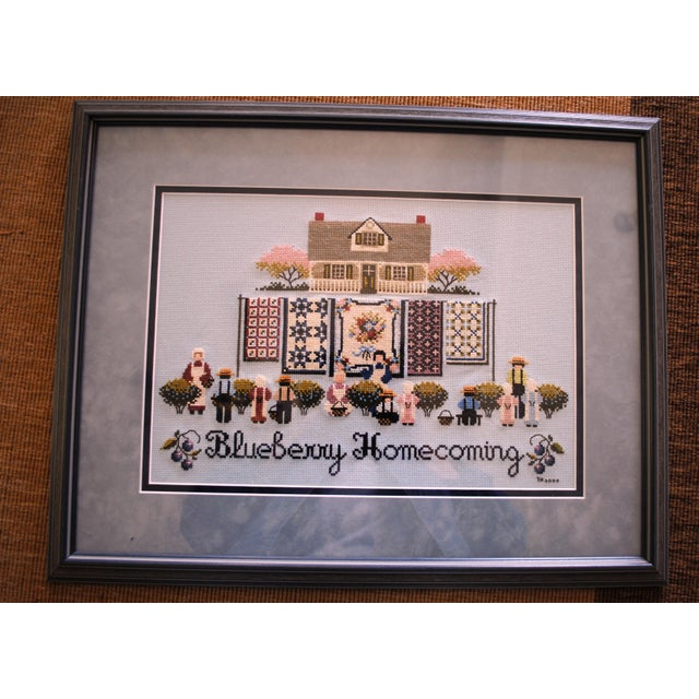 """Vintage Cross stitch """"Blueberry Homecoming"""" from the Told in a Garden Collection designed by Marilyn Leavitt-Imblum Large..."""
