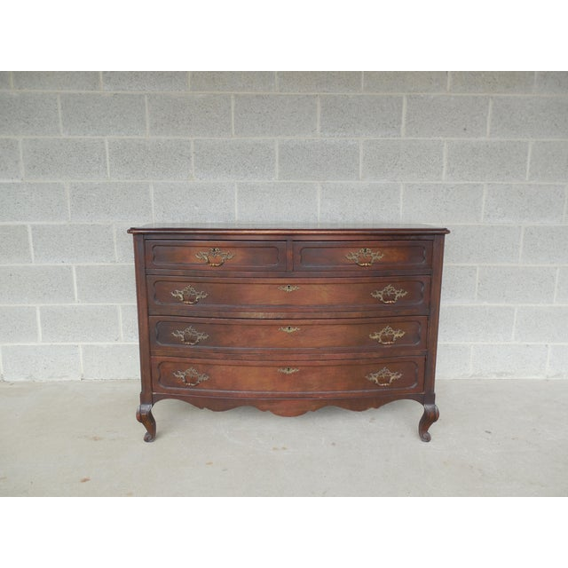 Antique / Vintage Walnut French Louis XV Style 5 Drawer Commode For Sale - Image 11 of 11