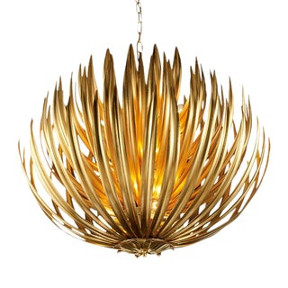 Florentine Antique Gold Leaf Artichoke Pendant Light For Sale