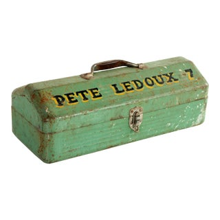 1930s Industrial Green Painted Toolbox For Sale