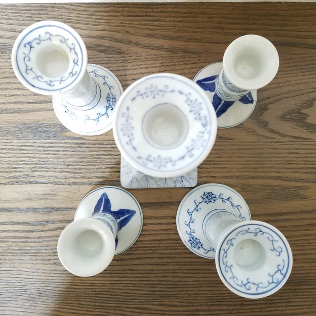 Late 20th Century Chinoiserie Blue & White Candlesticks, 5 Piece For Sale - Image 5 of 7
