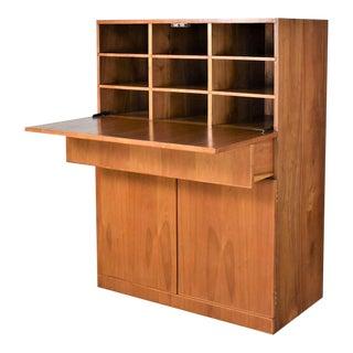 Vintage Scandinavian Modern Teak Drop Front Desk Secretary in a Box 1960-2000 For Sale