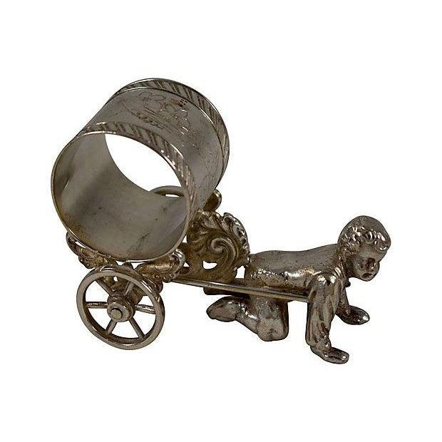 Victorian Boy & Cart Silver Figural Napkin Ring/Holder For Sale - Image 11 of 11