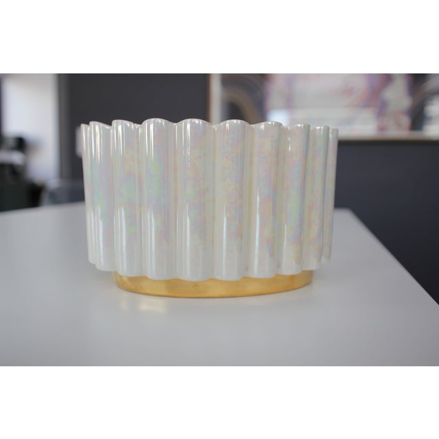 White and Gold Luster Mid-Century Ceramic Planter - Image 2 of 4