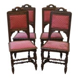 Image of Late 19th Century Antique English Oak Dining Chairs- Set of 4 For Sale