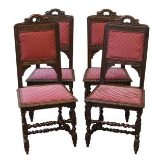 Late 19th Century Antique English Oak Dining Chairs- Set of 4 For Sale