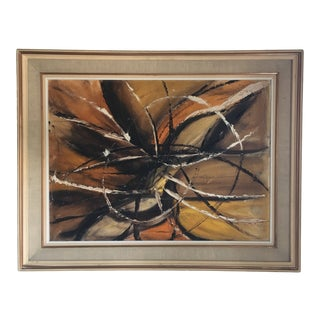 Abstract Painting in Browns and Orange For Sale