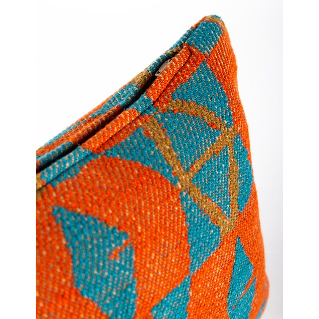 Abstract Orange and Blue Triangles Pillow For Sale - Image 3 of 7