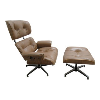Vintage Mid Century Leather Zebra Wood Lounge Chair & Ottoman