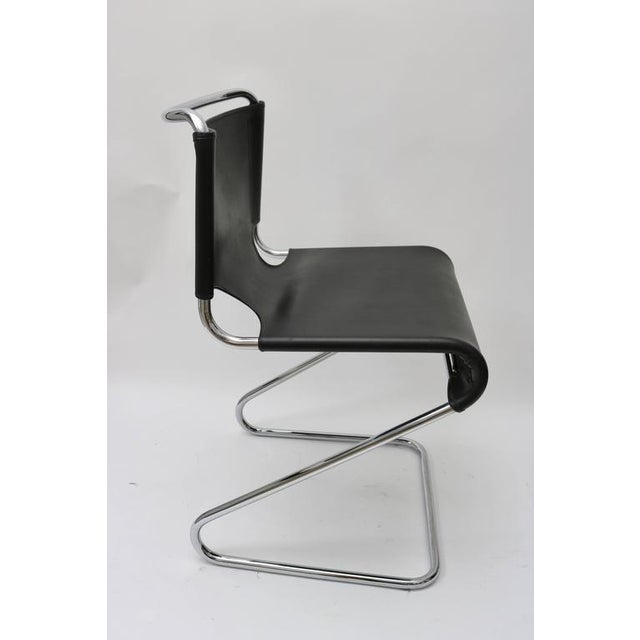 "Set of Four ""Briscia"" Side Chairs in Polished Chrome and Black Leather - Image 2 of 7"