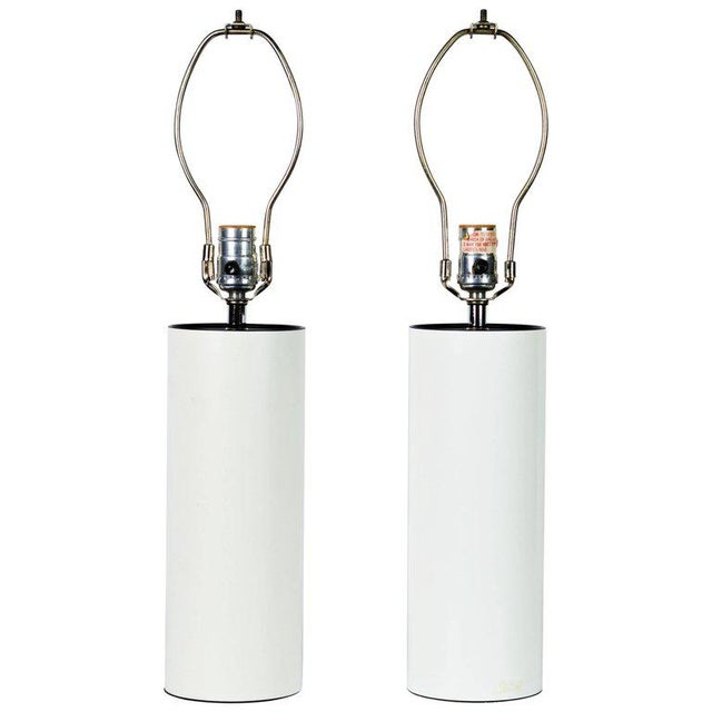 White Pair of 1970s White Enameled Cylinder Lamps by Robert Sonneman for Kovacs For Sale - Image 8 of 8