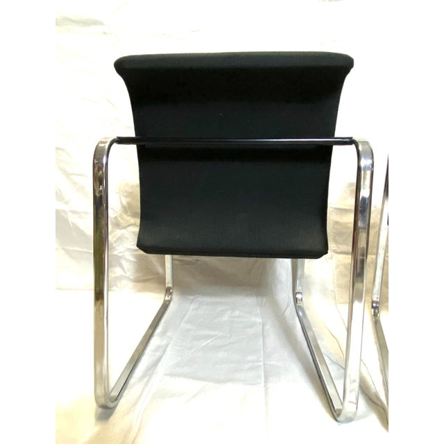 Marvelous Peter Protzman for Herman Miller Chrome Black Fabric Chairs - a Pair For Sale - Image 9 of 13