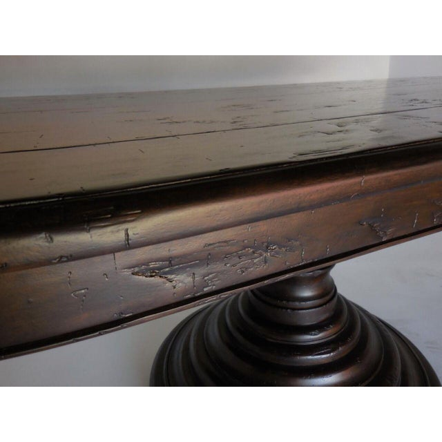 Custom Oval Beehive Pedestal Dining Table in Walnut Wood For Sale - Image 4 of 7
