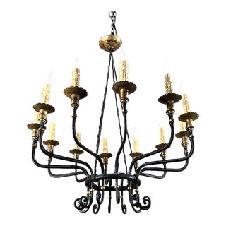 Mid-Century Hand Forged Wrought Iron Country French Chandelier With Gold Painted Accents For Sale