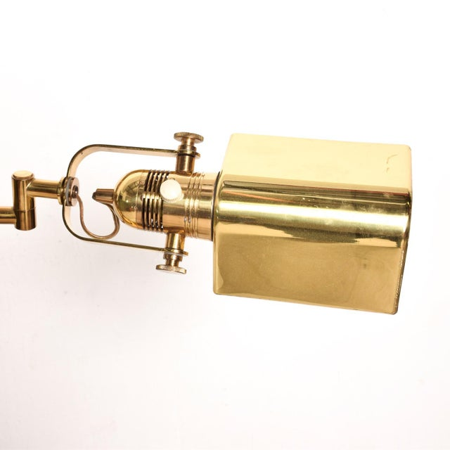 Gold Mid-Century Modern Brass Task Pharmacy Reading by Lamp Nessen For Sale - Image 8 of 11