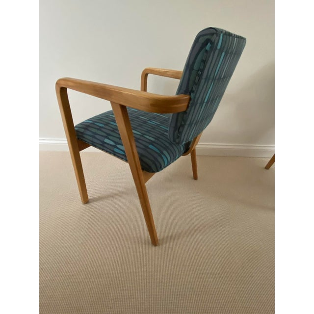 1950s Mid-Century Modern Walnut Upholstered Arm Chairs - a Pair For Sale - Image 9 of 13