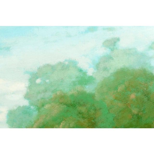 """Large """"Green Meadow"""" Giltwood Framed Oil / Canvas Painting For Sale In New York - Image 6 of 7"""