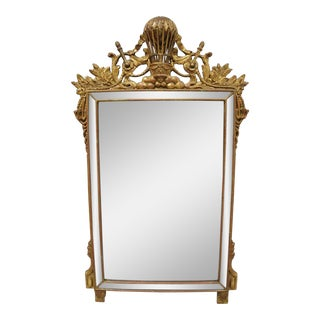 French Empire Style Italian Gold Giltwood Mirror With Hot Air Balloon Crest For Sale