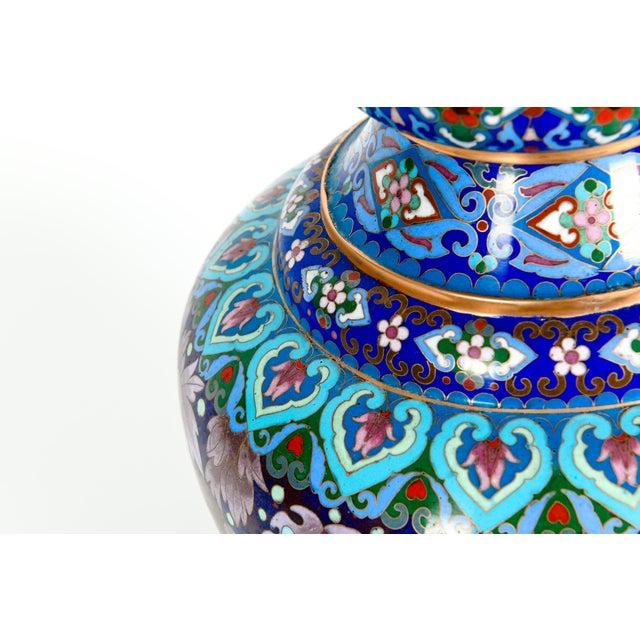 Vintage Gilt Brass Interior Cloisonné Decorative Vase For Sale - Image 10 of 13