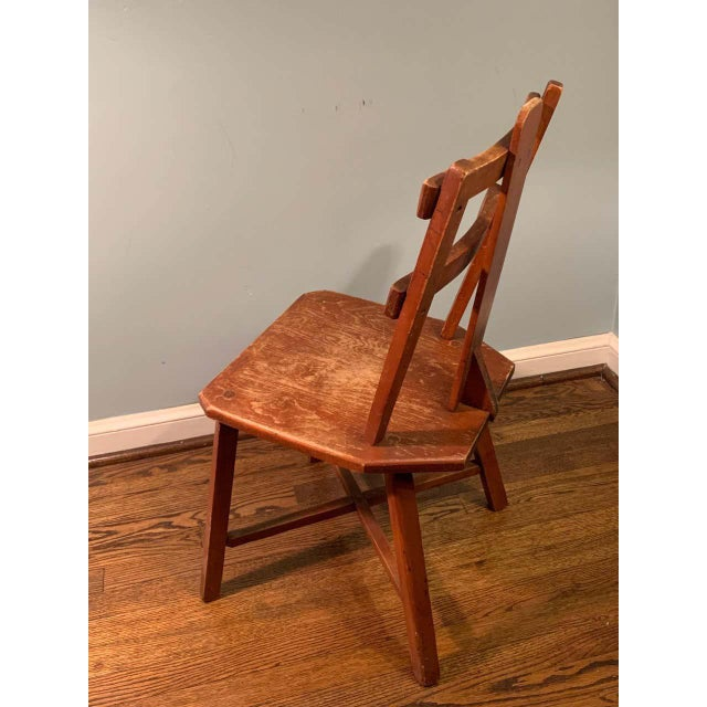 Brown Primitive Pair of Cherrywood Side Chairs in the Manner of Jean Touret For Sale - Image 8 of 11