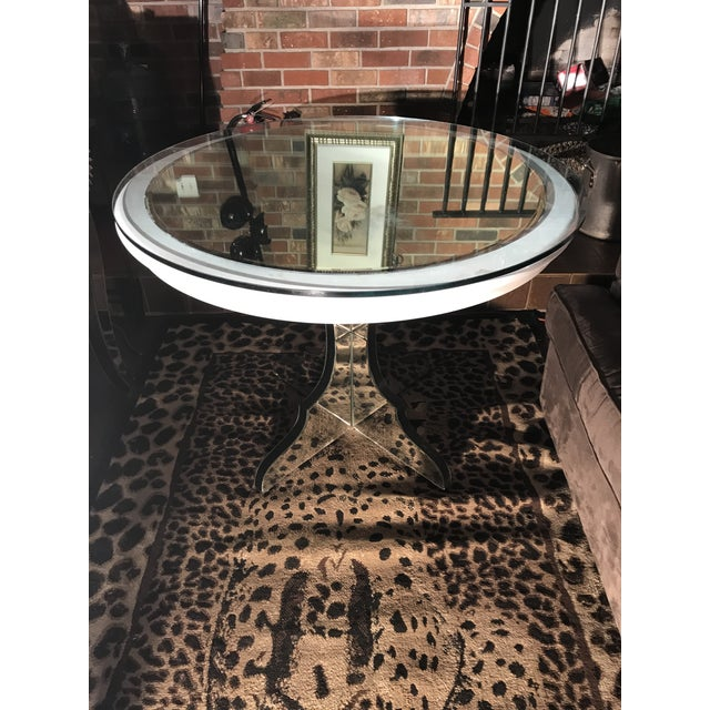 "Round white beveled mirror pedestal table for sale. This is a custom-made piece. The wood top is painted white with a 36""..."