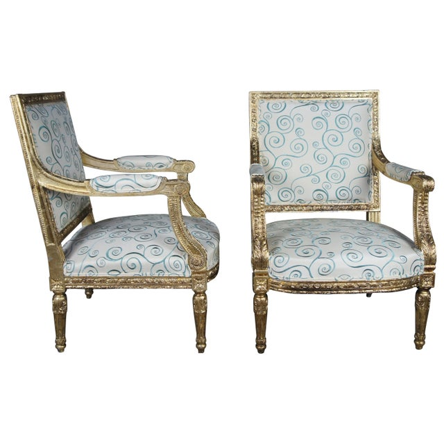 French Antique 19th Century Louis XVI Fauteuil Neoclassical French Accent Arm Chairs - a Pair For Sale - Image 3 of 13