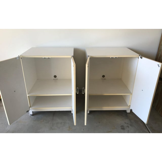 2000s Mid-Century Modern Kelly Wearstler Custom White Cabinets - a Pair For Sale - Image 5 of 13