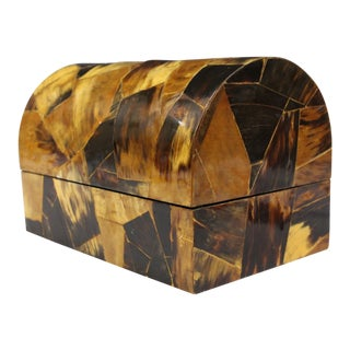 1970s Karl Springer Style Mid-Century Patched Horn Inlaid Jewelry Box For Sale
