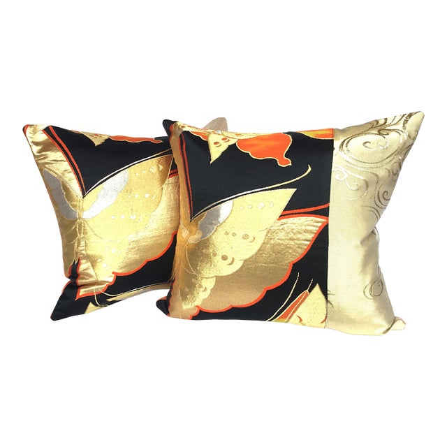 Vintgae Butterflies In Flight Japanese Obi Pillows - A Pair - Image 1 of 7