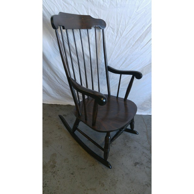 This beautiful vintage Boston style Windsor rocking chair circa 1940's.  Made of beautifully figured wood - Vintage Spindle Back Windsor Rocking Chair Chairish
