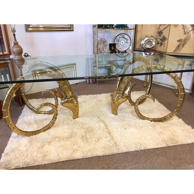 Gold Solid Brass Vintage Ibex Dining Table For Sale - Image 8 of 14