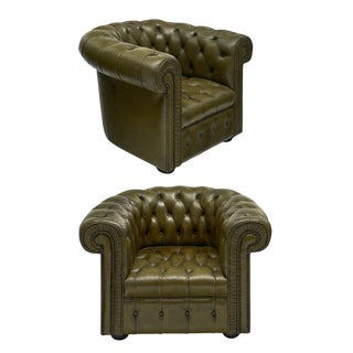 Vintage Green Leather Chesterfield Club Chairs - a Pair For Sale