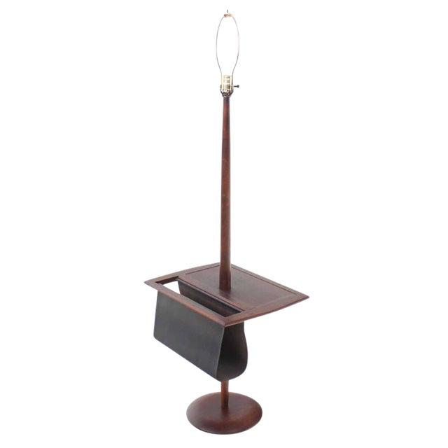 Danish Modern Oiled Teak Floor Lamp with Magazine Rack For Sale