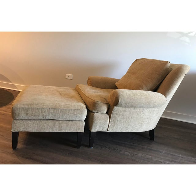 1990s 1990s Pearson Club Chair and Ottoman Restyled in Ralph Lauren Khaki Fabric For Sale - Image 5 of 13