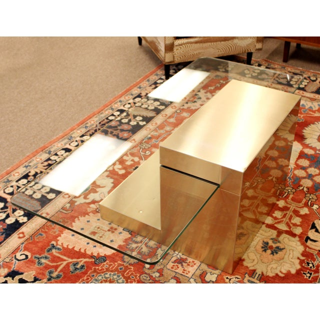 Metal Mid-Century Modern Paul Evans Cantilever Brass Glass Cityscape Coffee Table For Sale - Image 7 of 12