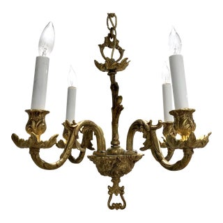 Mid Century Petite Brass 4-Arm Chandelier For Sale