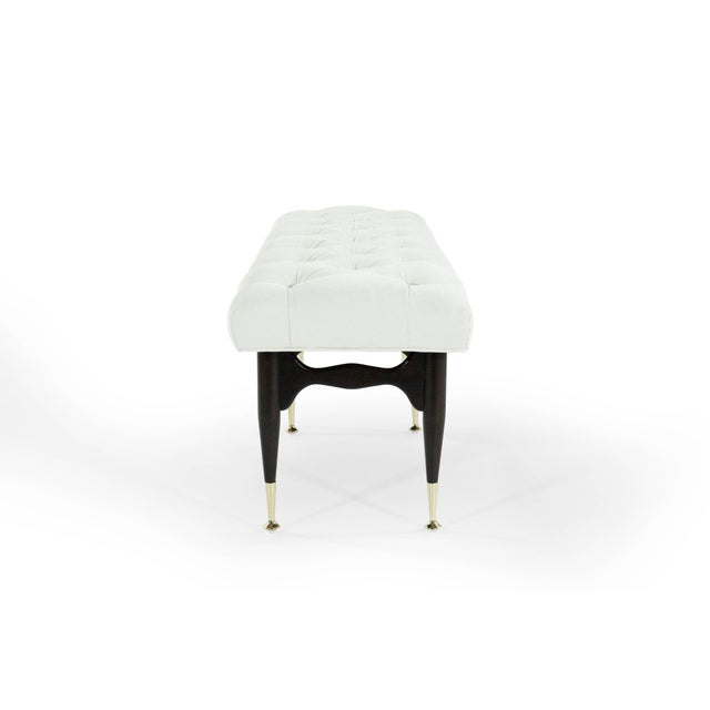 Mid 20th Century 1950s Modernist Sculptural Tufted Mahogany Bench For Sale - Image 5 of 12