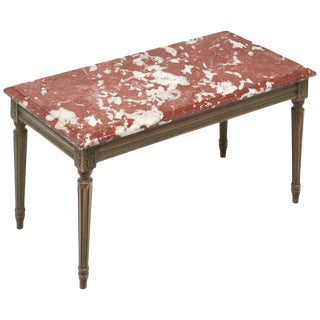 1920s Louis XVI Style Rouge Royal Marble-Topped Coffee Table For Sale