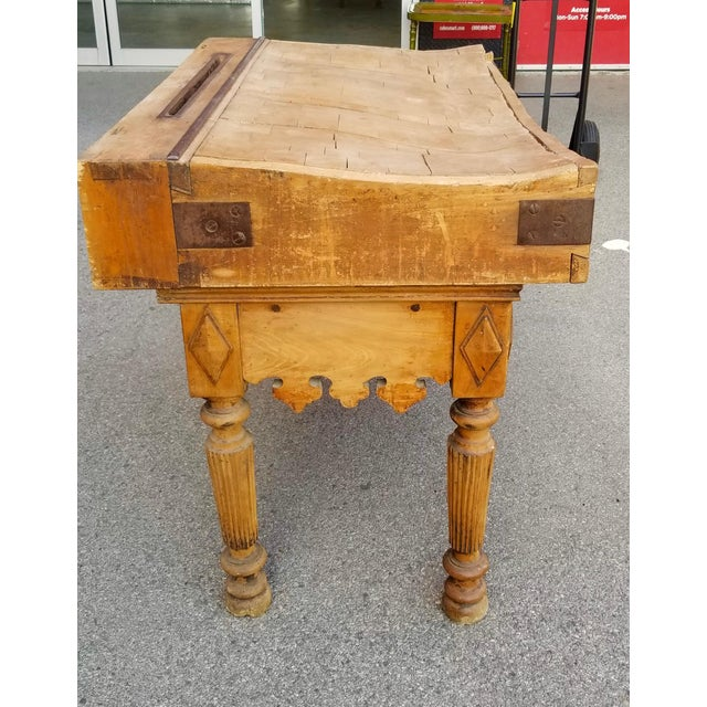 French 19th Century Parisian Butcher Block Table For Sale - Image 3 of 13