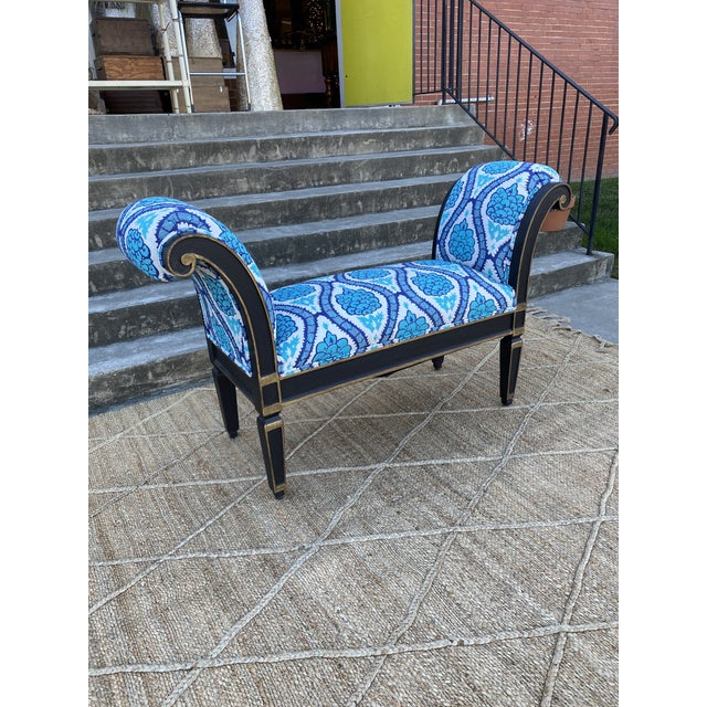 2000 - 2009 Italianate Scrolled Arm Custom Designer Bench For Sale - Image 5 of 12