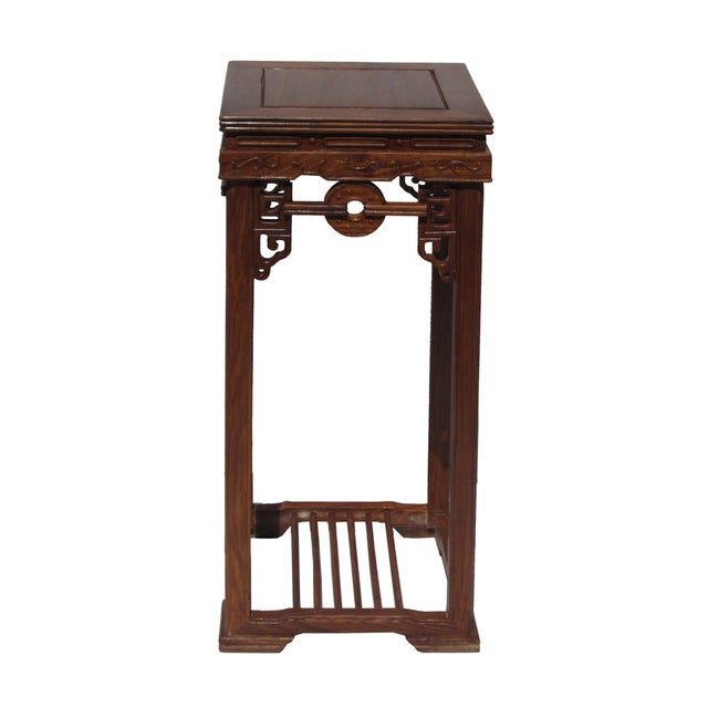 Chinese Rosewood Coin Pattern Square Plant Stand - Image 5 of 5