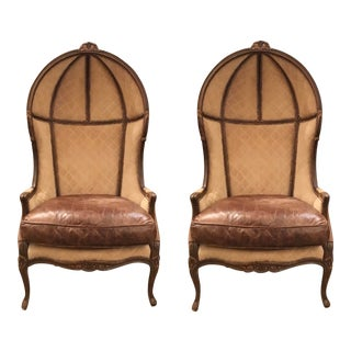 French Vintage Leather and Suede Ballon Porter Chairs - a Pair For Sale